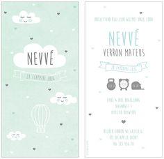 www.hetuilennestje.nl geboortekaartje Nevve: Geboortekaartje, blauw, wolken, wolkjes, hartjes, hart, vaantje, luchtballon, ballon, jongen.