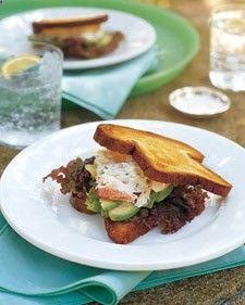 Crab sandwiches are delicate, so we prefer thin brioche toast with just crab, soft lettuce, a bit of creme fraiche, and some avocado.