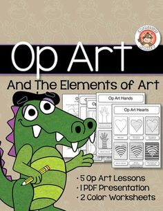 After teaching students about the elements of art, make the elements come alive by creating some Op Art!  Students will use color theory and lines to create 5 fun illusions.What you get: Op Art and The Elements of Art #1 (24 pages)  Contrasting Colors presentation (28 slides) Contrasting Colors lesson (6 pages) Op Art and The Elements of Art The 5 Op Art lessons are, Op Art Hearts, Op Art Hands, Op Art Vertical Lines, Op Art Converging Lines, and Op Art Waves.