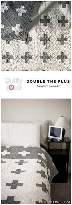Double the Plus quilt pattern by Emily of quiltylove.com.  Modern plus quilt.  Double sided plus quilt.  #modernquilting