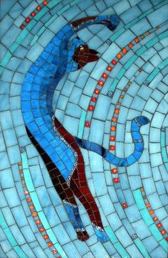 Gallery of stained glass mosaic cats by Santa Barbara, CA artist Christine Brallier. Stained Glass Art, Mosaic Glass, Mosaic Tiles, Blue Mosaic, Mosaic Wall, Mosaic Crafts, Mosaic Projects, Mosaic Designs, Mosaic Patterns