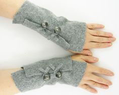 Grey arm warmers felted fingerless gloves eco friendly fashion fingerless mittens  wrists warmers arm cuffs recycled wool  tagt team teamt on Etsy, $25.00