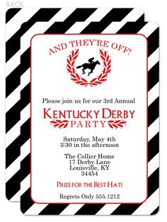 Classic and beautiful Kentucky Derby Party Invitation.  I love the 2-sided print. They even sell a version to print at home if you're in a hurry!  #derby