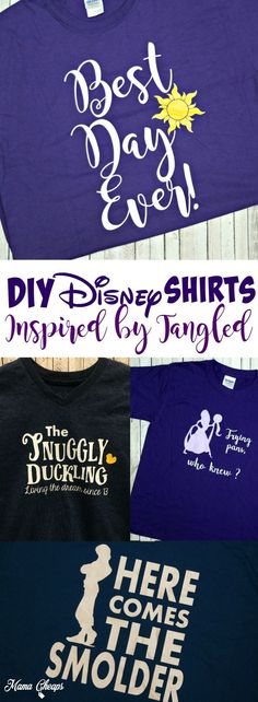 DIY Disney Shirts Inspired by Tangled Movie! Find more great Disney DIY ideas on http://MamaCheaps.com.
