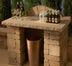 Small outdoor outside compact bar.  Pavers.