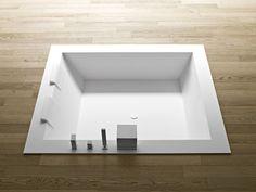 Unico badewanne square - Designer Built in bath tubs by Rexa Design ✓ Comprehensive product & design information ✓ Catalogs ➜ Get inspired now Mini Bathtub, Built In Bathtub, Bathtub Shower, Basin Taps, Corian, Towel Rail, Bathroom Interior, Bathroom Furniture, Designer
