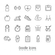 Doodle Health And Fitness Icons. Free Vector