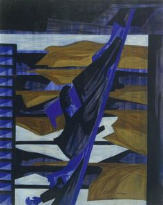 War Series: Alert, 1947 by Jacob Lawrence. Cubism. genre painting