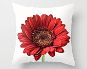 Photo Pillow Cover, Red Floral Cushion Case, Gerbera Daisy Bedroom Accent, Farmhouse Decor, French Cottage Chic, Crimson Botanical Art