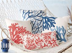 Coral Coastal Decorative Accent Pillows Printed Red Coral Rectangle Pillow 11 x Coastal Bedrooms, Coastal Living Rooms, Bedroom Modern, Coastal Style, Coastal Decor, Modern Coastal, Beautiful Beach Houses, Accent Pillows, Throw Pillows