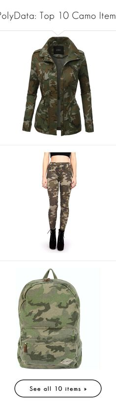 """""""PolyData: Top 10 Camo Items"""" by polyvore ❤ liked on Polyvore featuring camo, polydata, outerwear, jackets, coats, tops, military camo jacket, military jacket, long sleeve jacket and military camouflage jacket"""