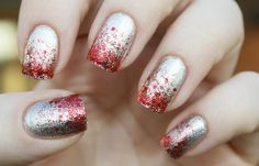 Uñas decoradas color plata, uñas decoradas color plata y rojo.  Follow! #decoraciondeuñas #corunhas #uñaselegantes