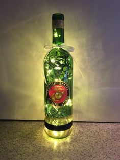 United States Marine Corp wine bottle lamp