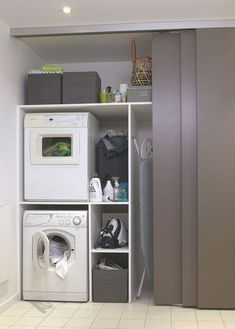 Install Waschmaschine im Bad, Wäsche - Salle de bain - Mobel Laundry Cupboard, Laundry Room Cabinets, Basement Laundry, Small Laundry Rooms, Laundry Closet, Laundry Room Organization, Laundry Room Design, Laundry In Bathroom, Bathroom Storage