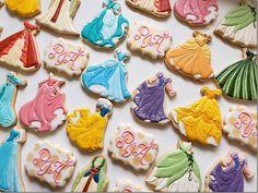 Disney Princess Dress Cookies made by Sylvie Bear Cookie Disney Princess Cookies, Disney Princess Birthday Cakes, Disney Cookies, 4th Birthday Cakes, Disney Princess Dresses, Birthday Cookies, Princess Cakes, Disney Princess Decorations, Birthday Crowns