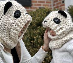 Crochet Free Pattern Hooded Panda Cowl- Free Pattern (in 3 sizes) ~ A Purpose and A Stitch Crochet Toddler, Crochet Kids Hats, Crochet Bear, Crochet Scarves, Diy Crochet, Crochet Hooks, Crocheted Hats, Front Post Double Crochet, Loom Knitting