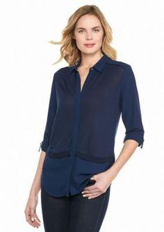 Calvin Klein Jeans  Knit Blocked Button-Down Top
