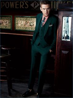 GQ enlists Dan Stevens for a new style shoot, which features the actor in a Gucci suit with Church's loafers.