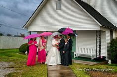 rain on the bridal couple at the chapel