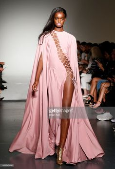 A model walks the runway during the Michael Costello Spring 2016 show during New York Fashion Week at Pier 59 on September 15, 2015 in New York City.