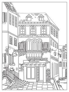 House Colouring Pages, Dog Coloring Page, Cute Coloring Pages, Coloring Books, Detailed Coloring Pages, Printable Adult Coloring Pages, House Drawing, Line Drawing, Line Art