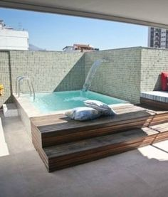 Small swimming pools for small patios Vol. Small Indoor Pool, Pools For Small Yards, Small Backyard Pools, Small Patio, Swimming Pool Enclosures, Small Swimming Pools, Small Pool Design, Small Places, Cool Pools