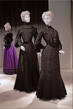 """Early 1900s dresses, from the exhibition """"Death Becomes Her: A Century of Mourning Attire,"""" held at the Metropolitan Museum of Art. Photo: Randy Brooke, Lookonline.com."""