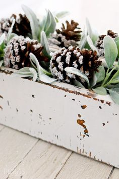 DIY Snow Covered Pinecones