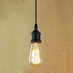 Light Socket I Shape Vintage Retro Edison Bulb Pendant Lamp Holder With Hanging Wire Industrial Pendant Lights, Pendant Lamp, Pendant Lighting, Hanging Wire, Hanging Lights, Lampe Edison, Chandelier, Mason Jar Lamp, Glass Shades