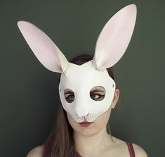 Rabbit leather mask in white by TomBanwell