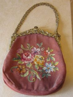 Signed France Tiny Stitch  Needlepoint  Victorian Purse