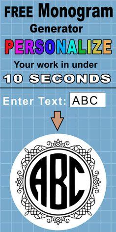 Online Monogram Maker (Download in SVG Format) Monogram Maker, Cricut Monogram, Diy Monogram, Cricut Fonts, Monogram Letters, Circle Monogram Font Free, Free Monogram Designs, Free Printable Monogram, Wood Letters