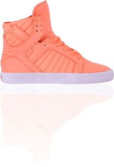 Supra Womens Skytop Neon Coral Leather   Nylon High Top Shoe Supra Shoes ff82ebe89dd