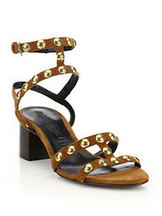 Burberry - Philly Studded Suede Block-Heel Sandals
