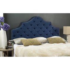 Shop for Safavieh Arebelle Steel Blue Upholstered Tufted Headboard - Silver…