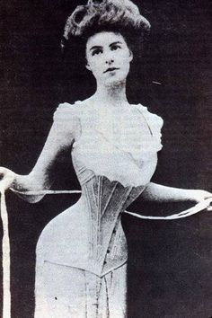 Corsetted woman from 19th century.