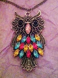 Jeweled Fashion Owl Necklace Free Ship
