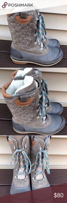 NWOB Clark's Women's Gray Shale Mucker boots S 6.5 NEW WITHOUT BOX SYNTHETIC SUEDE, MESH AND RUBBER UPPER ORTHOLITE FOOTBED FAUX-SHEARLING LINING RUBBER OUTSOLE LACE ENTRY Great for snow or hiking. Very fashionable. Clarks Shoes Winter & Rain Boots