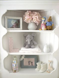 Nursery shelves styled so sweetly