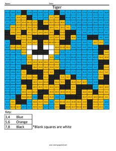 Tiger Color fun math practice free division problems