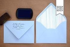 Nautical Tri Fold Step7 DIY Tutorial: Stamped Nautical Tri Fold Wedding Invitation Suite