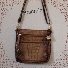 """195. In store. Brahmin crocodile bag  Excellent condition. Currently in Dillards store for $195..Used once. Beautiful, classic Brahmin. See sweater in another listing. Adjustable 24+"""" cross body drop. Brahmin Bags"""