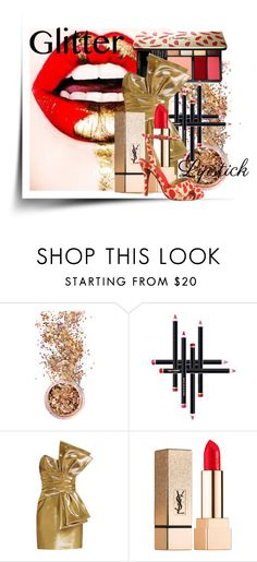 """""""Glitter Glitter YSL"""" by joicecl ❤ liked on Polyvore featuring beauty, In Your Dreams, Yves Saint Laurent and glitterlips"""