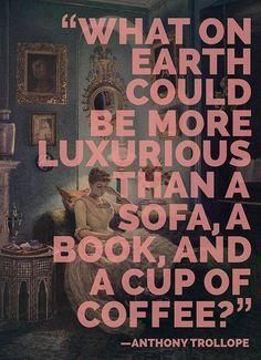 A sofa, a book, and a cup of coffee... #Quiet (pinterest.com/kselvaraj)