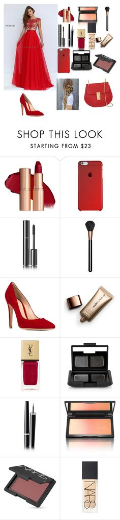 """""""Love red😍"""" by lovepink75 ❤ liked on Polyvore featuring Sherri Hill, Chanel, MAC Cosmetics, Gianvito Rossi, Nude by Nature, Yves Saint Laurent, NARS Cosmetics, Kevyn Aucoin and Chloé"""