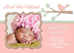 FREE printable birth announcement card. Add your own photo, change ...