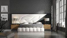 Dormitorio de diseño actual con un toque muy personal. Modern Headboard, Bed Rest, Bed Back, Wardrobe Doors, Master Bedroom Design, Cot, My Dream Home, Bed Rooms, Headboards