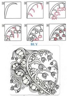 Bly - Step by Step Zentangle Pattern A Tangle Grows In Brooklyn - Tangles Doodle Zen, Tangle Doodle, Tangle Art, Zentangle Drawings, Doodles Zentangles, Doodle Drawings, Doodle Patterns, Zentangle Patterns, Doodle Borders