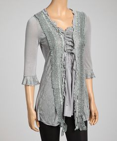 Take a look at this Gray Lace Linen-Blend Top by Pretty Angel on #zulily today!