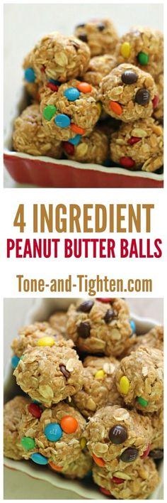 4 Ingredient Peanut Butter Balls - http://Tone-and-Tighten.com